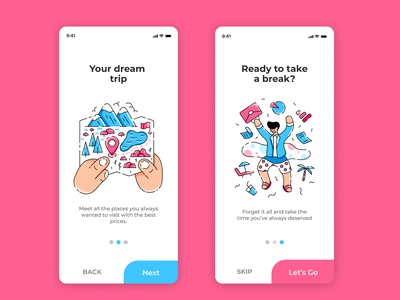 Onboarding Design - Travel Agency App dailyui diseño app diseño travel app design travel app trip app illustration onboarding agency travel