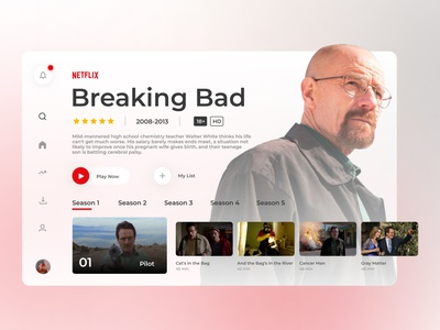 Smart TV App - Design Concept online streaming movie series cinema breaking bad netflix smart home tv tv series tv app streaming app smart tv dailyui