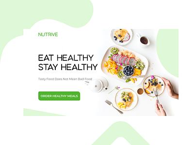 Nutrive - Landing Page   Food Delivery hero food delivery website minimal web ui landingpage homepage header design