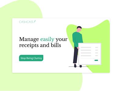Cashcast - Easy Receipt management   Landing Page illustration landingpage minimal web ui homepage design