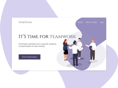 Starteam - Find your teammates illustration header minimal web ui homepage design
