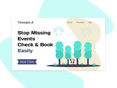 Tickeight - Check & Book Easily website hero landingpage minimal web ui homepage design