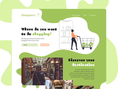 Shoppers - Discover New Malls ui website web design web ui design simple landing page modern minimal flat design dailyui creative clean