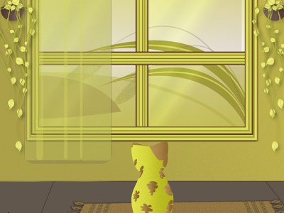cat looking out the window window cat illustrator illustration