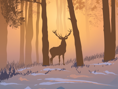Lone Stag wallpaper design vector illustration vector art illustration art illustration foggy stag sunrise