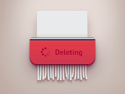 Deleting loading delete paper shredder ui