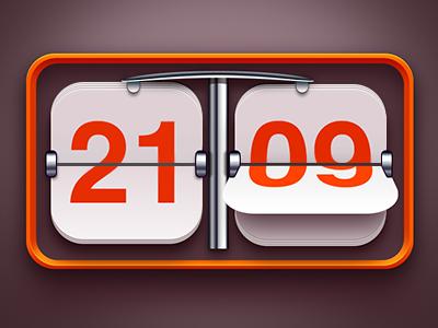 Orange Flip Clock orange clock chrome time flip