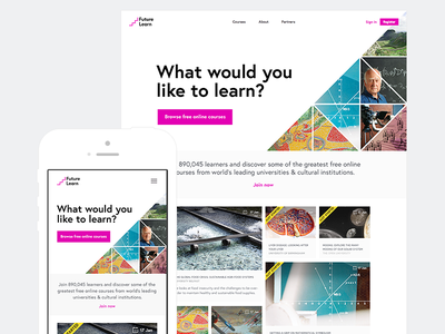 FutureLearn landing page grid composition responsive triangle mobile web website landing page