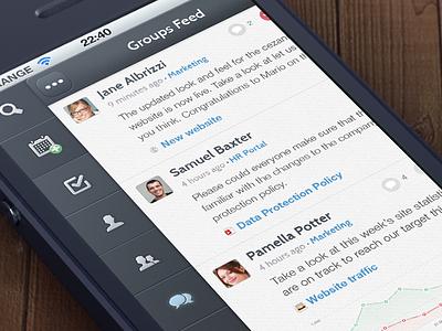 Menu feed news list ui app interface sidebar menu mobile iphone social cezanne navigation simple minimal icons ios