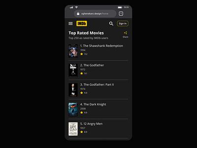 Daily UI 019. Leaderboard. movie app movies movie imdb top charts leaderboard daily ui 019 dark theme redesign daily ui ui design daily 100 challenge dailyuichallenge dailyui