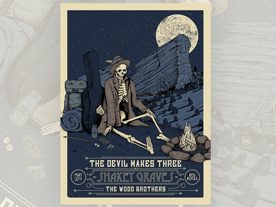Devil makes Three / Shakey Graves Poster poster screenprint