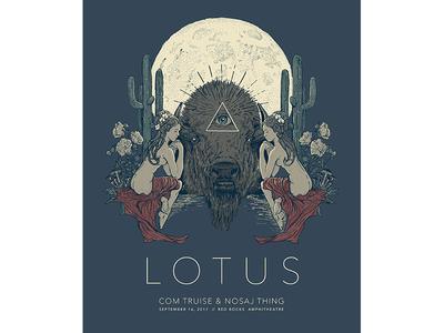 Lotus Red Rocks poster screen print illustration lotus gig poster