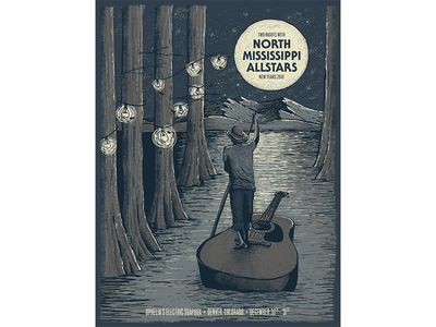 North Mississippi Allstars Gig Poster illustration pen and ink screenprint north mississippi allstars gig poster