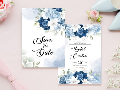 Wedding Invitation Card floral design wedding invitation blue wedding invitation leaves wedding invites wedding invitation elegant design weddings wedding invitations wedding invitation wedding design wedding