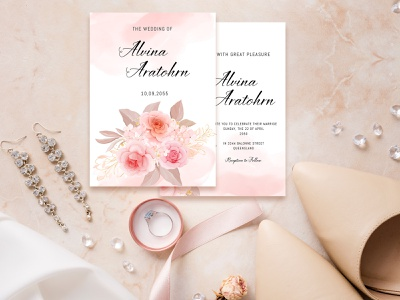 Beautiful Wedding Invitation Card With Soft Pink Roses wedding invitation leaves wedding invites wedding invitation elegant design weddings wedding invitations wedding invitation wedding design wedding