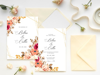 Beautiful Floral With Leaves Wedding Invitation wedding invites weddings wedding invitation elegant wedding invitation leaves wedding invitations wedding invitation design wedding design wedding