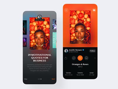 Photo Gallery App - UI Case social app mobile clean mobile-ui user-interface sketch design ux ui