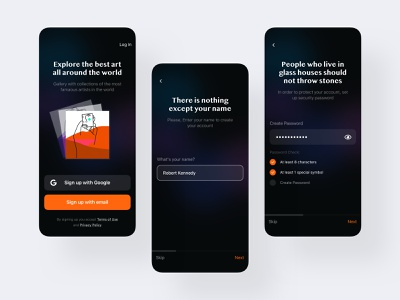 😀 Onboarding: Gallery App - UI Case ⭐️ sketch mobile-ui mobile vector signup uiux social onboarding ios ux ui app design clean app