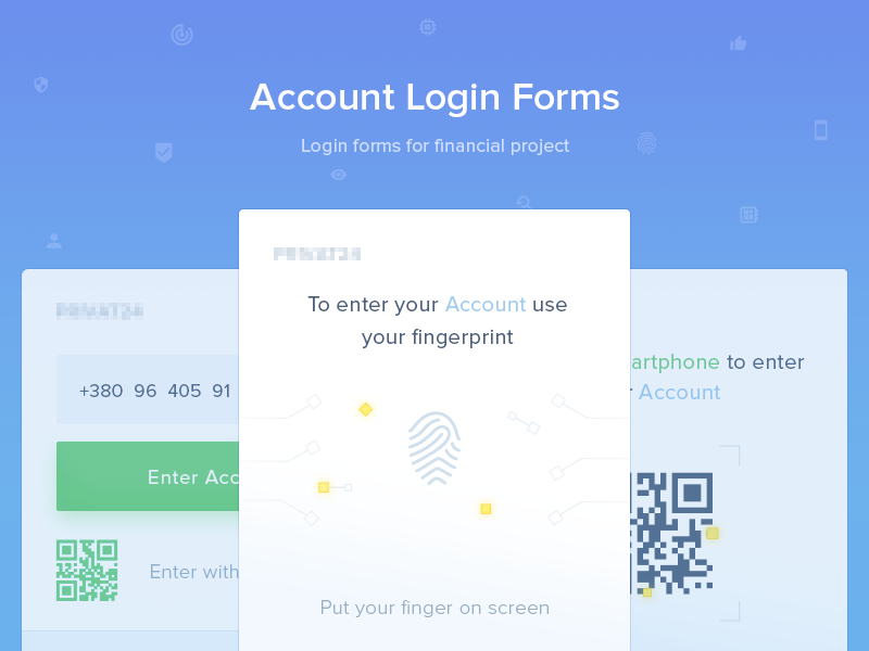 Account Login Form security login financial-app photoshop material-design user-interface user-experience ui