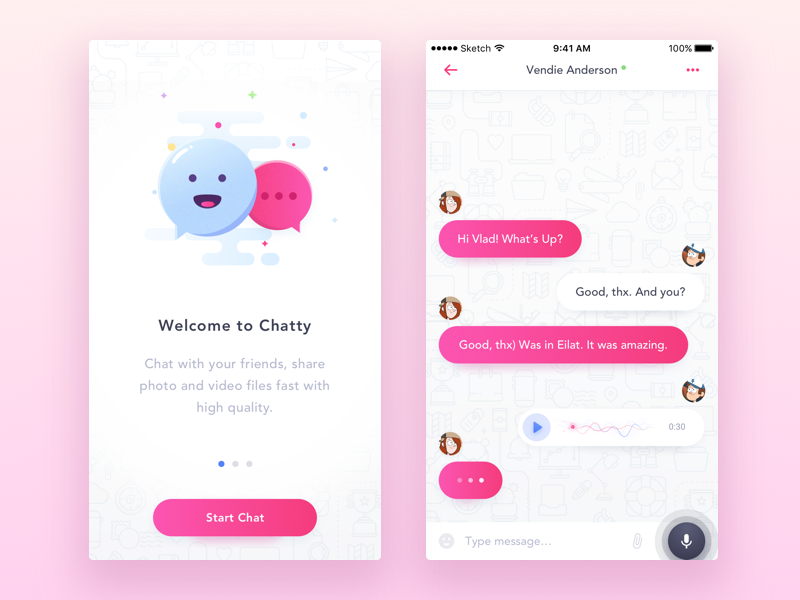 Chat UI - 2 part chat-app iphone-app material-design mobile-chat sketch ios-ui ui chat