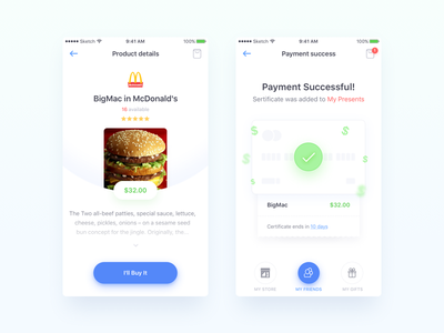 Store app - product details and payment gift e-commerce mobile-ux material-design fastfood sketch categories product product-list store mobile-ui