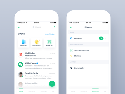WeChat Design Concept flat design ios app material search discover chat app ui media social contact chat wechat