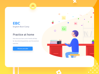 EBC - Tutors Web Site proposal illustration material education tutor web ui design flat