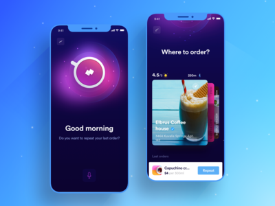 AI Coffee Ordering App ai coffee delivery app order app iphonex on demand uber hot cafe ui ux