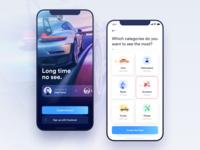 Car Rental App - Welcome and Onboarding screens