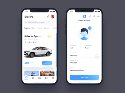 Car Rental App – Onboarding and Feed screens ios mobile-ui user-interface ui app profile mobile app mobile car app design ux sketch material-design ui