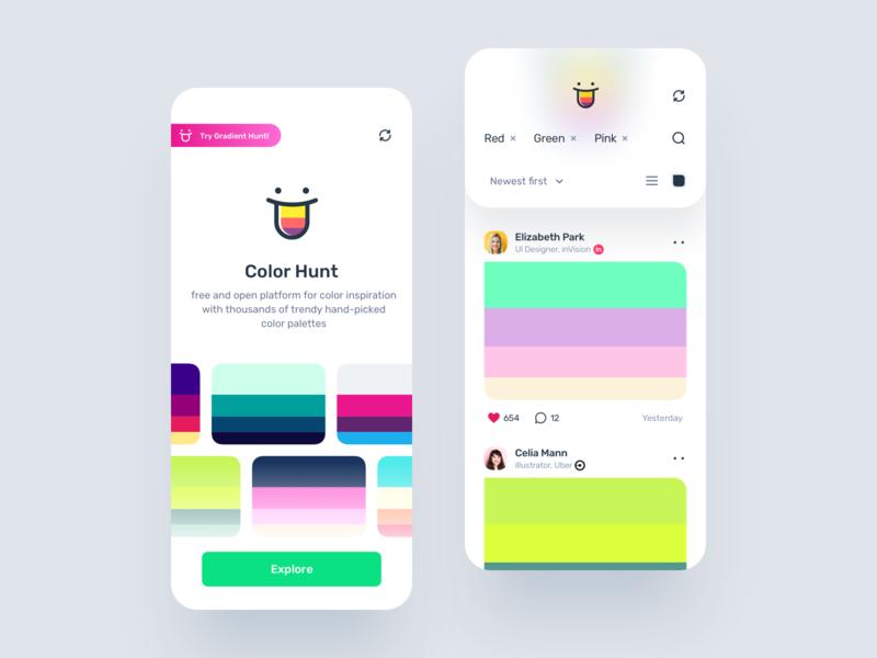 Color Hunt - Mobile App Concept palette brand color feed mobile mobile-ui design ux user-interface material-design ui