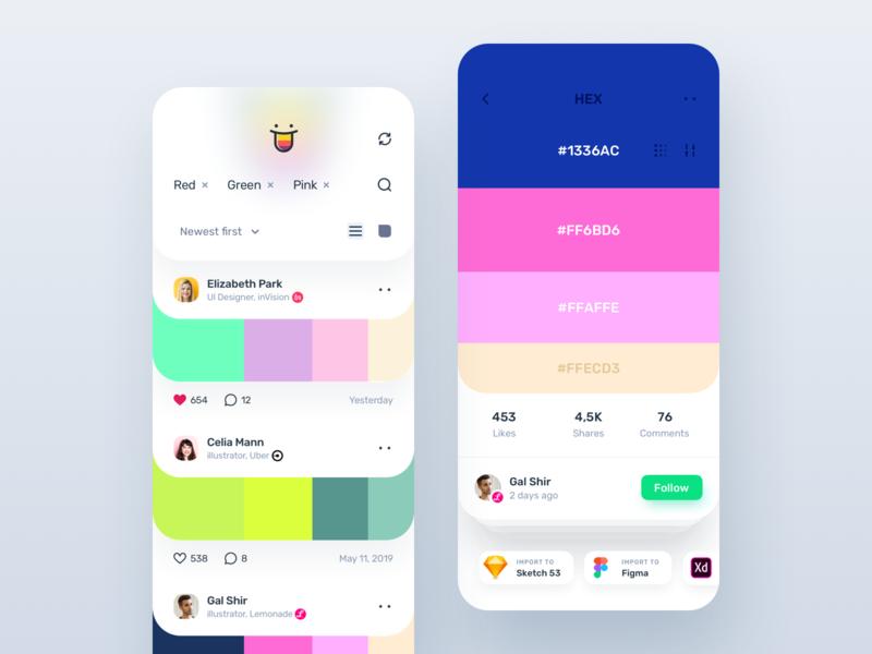 Color Hunt - Mobile App Part 2 creative clean app minimal color clean branding illustration mobile-ui user-interface design ux material-design ui