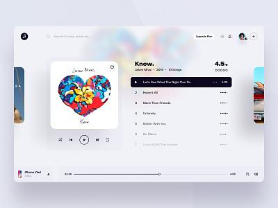 Web Music App - Player clean music app music player music web ux user-interface design sketch material-design ui