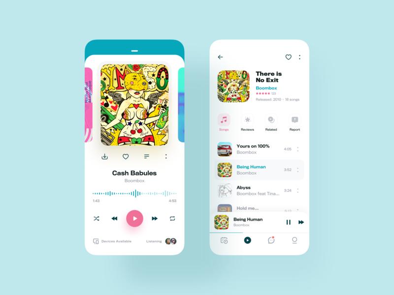 Music Player App – UI Exploration app music player ux music app clean mobile mobile-ui design sketch material-design ui