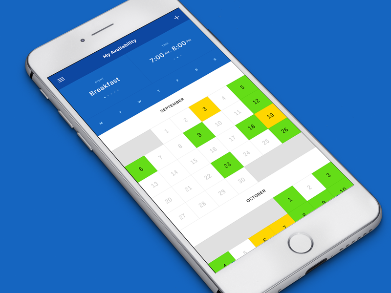 My Availability - 001 breakfast mobile app ios schedule calendar