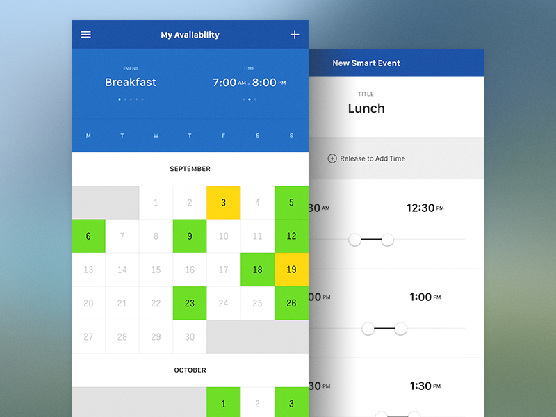 My Availability Calendar - Side by Side by Sixbase