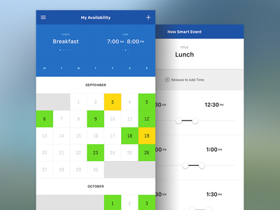 My Availability Calendar - Side by Side schedule lunch timeline new event calendar ios