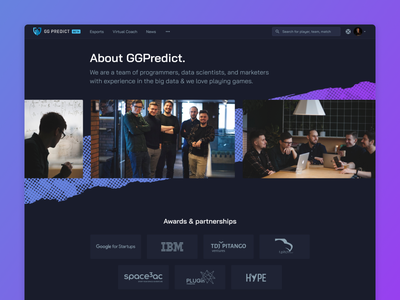 GGPredict - About us gamers esports figma dark game design ux ui
