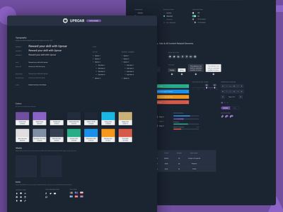 Uproar Style Guide typography design dark uproar dashboard guide style