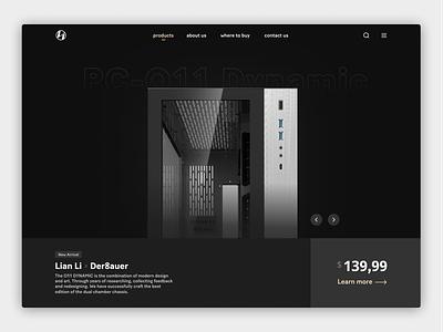 Lian Li - Product Page ecommerce product landing product page dark mode dark design ui lian li