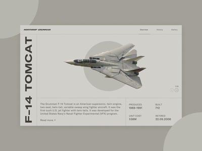F-14 Tomcat - Product Page product product page military aviation tom cruise top gun f-14 tomcat design ux ui