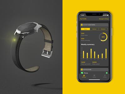 Invis App 2.0 watch data statistics stats ios app wearables dark ux ui