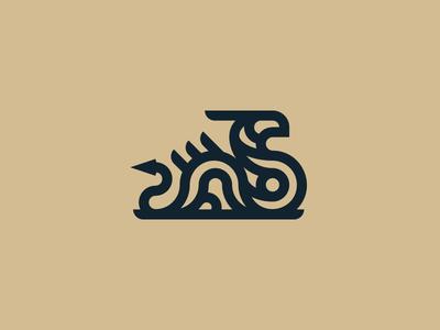 Water dragon animal vector logo geometric modern mythical creature lineart monoline dragon river water