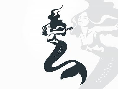 Mermaid negative space character simple elegant ocean sea underwater illustration mermaid