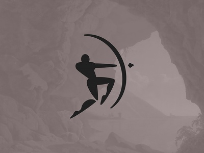 Archer logo strong character negative space minimal silhoutte simple bow jumping warrior arrow archer