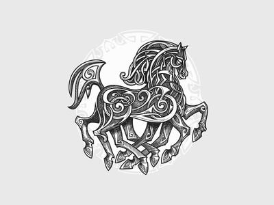 Sleipnir design vector old fashioned vintage retro illustration nordic norse norse mythology animal horse