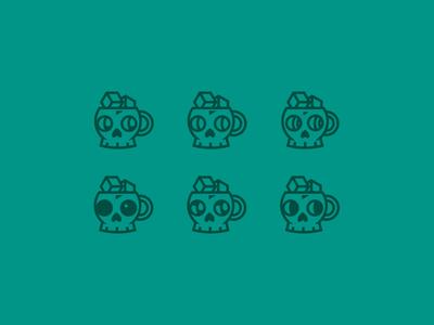 Cold sip - logo exploration sip icon character minimal simple logo cold brew coldbrew coffee cup coffee skull