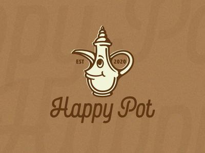 Happy Pot joy happy smiling coffe pot template for sale arabic pot coffee vector character logo