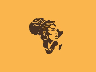 Proud African Woman illustration logo portrait logoground branding design vector negative space strong proud female character continent african africa woman