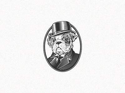 Mr  Dog illustration graphic design vector etching gentleman dog character logo